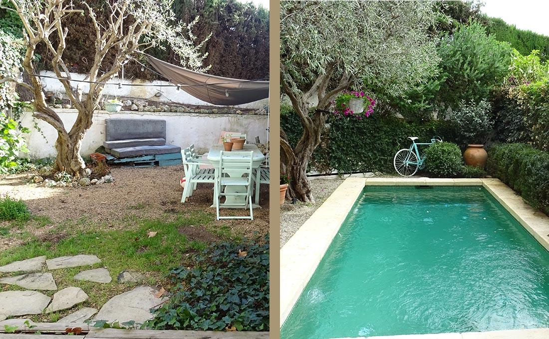 Jardi d'entrada i de piscina a Vilassar de Mar
